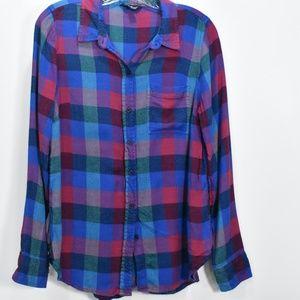 Women's Lucky Brand Plaid Flannel Split Back Shirt